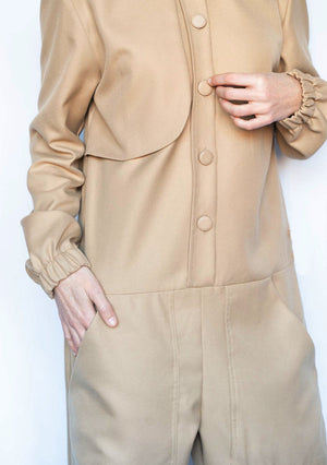 BEIGE COTTON JUMPSUIT MMIEE