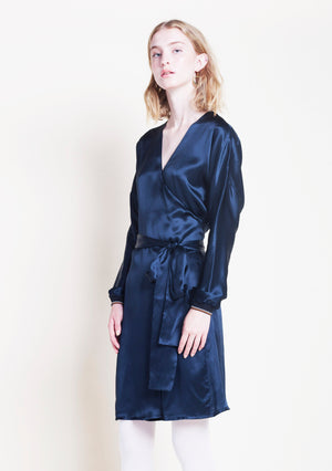 NAVY SILK WRAP DETAIL DRESS