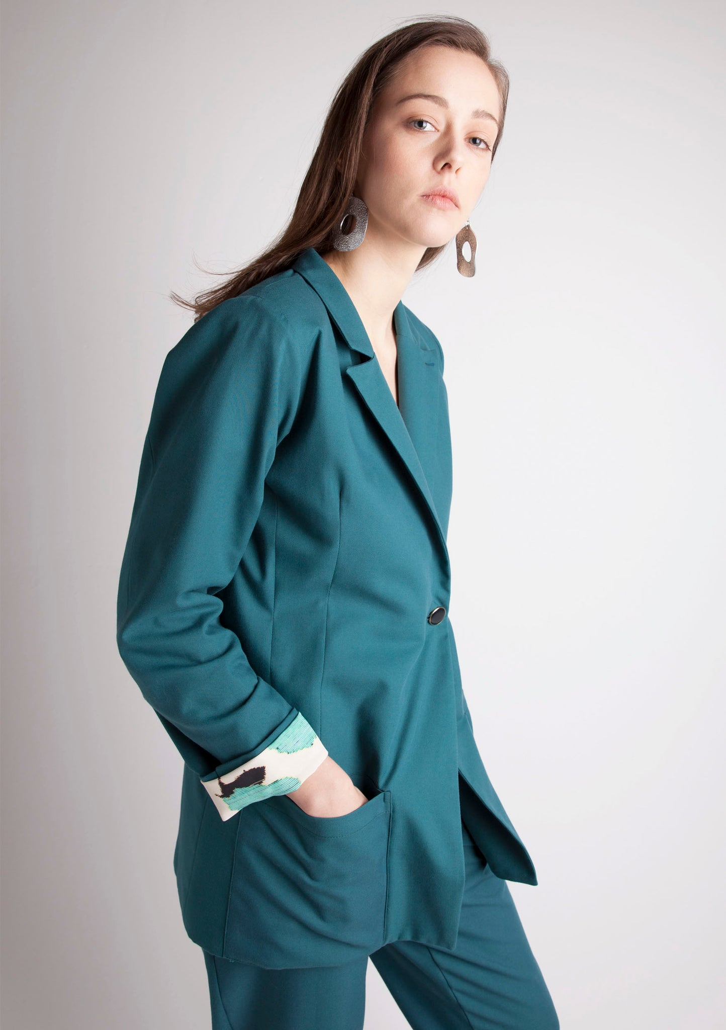 GREEN COTTON BLAZER