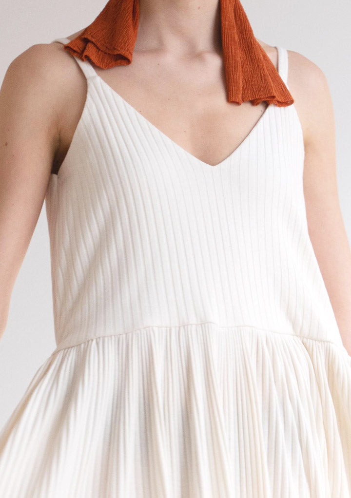 WHITE RIBBED DRESS
