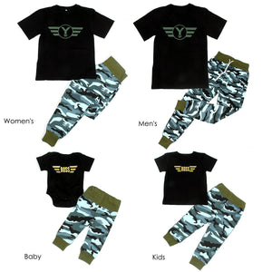 Sets Family Pilot Short T Shirts +Camouflage Pants  Matching