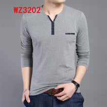 Load image into Gallery viewer, Men Long Sleeve T-shirts Male Casual Fashion Slim V Neck Shirts Men