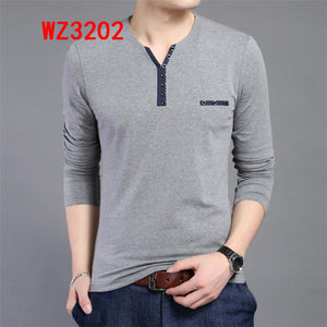 Men Long Sleeve T-shirts Male Casual Fashion Slim V Neck Shirts Men