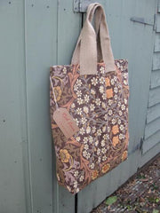 'Daisy flower' tote bag in vintage fabric- fully lined
