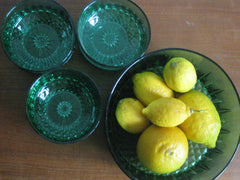 Vintage French Green Glass 7 x bowl set-SOLD.
