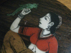 Solid wood trinket box - Marquetry woman