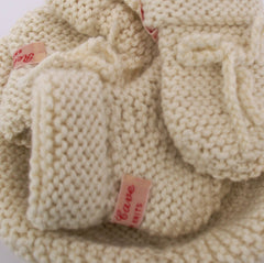 Hand-knitted, 3pc. baby set: hat, mitts, booties with crochet ties
