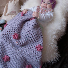 Hand-crocheted cashmere mix large trimmed baby blanket