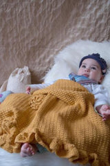 Saffron Yellow Handknit Blanket/ shawl