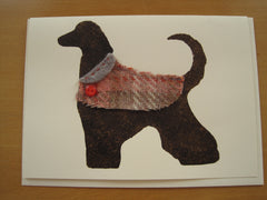 Hand-printed Greetings card- Dog with coat.