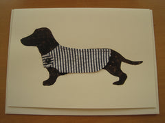 Hand-printed dog card with trims- SOLD