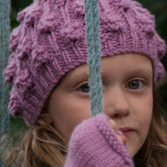 Hand-knitted Girls Blackberry Beanie.- SALE