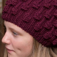 Hand-knitted Ladies Blackberry Beanie: SALE