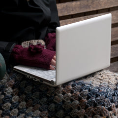 Hand-crocheted laptop cosy snug in chunky-weight tweed- SALE