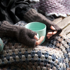 Hand knitted Ladies Rustic Ribbed fingerless gloves-SALE
