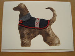 Hand-printed Greetings card. Dog with coat.