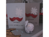Moustache red glitter Christmas cards!