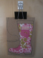 Wellie Fabric greeting card - SOLD.