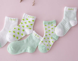 5 Pairs Cotton Star Baby Socks for Boys and Girls (0 - 6Y)