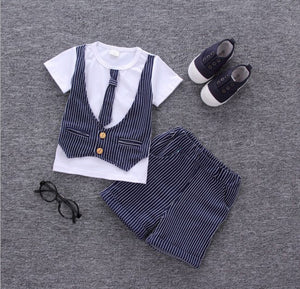 Boys Tie T - Shirt and Shorts (12M - 4T)