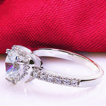 Silver Plated Crystal Love Heart Shaped Bridal Wedding Ring