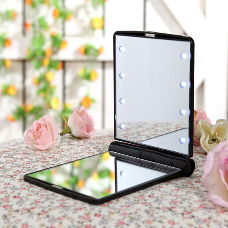 Folding Compact LED Pocket Cosmetic Mirror (Different Colors Available)