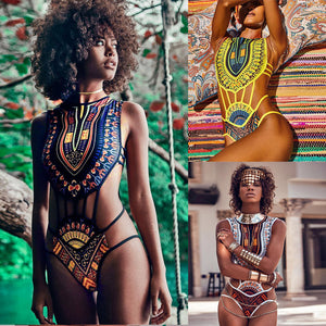Lady Vintage African Print Push-Up Padded Bra Swimsuit 3 Colors (S - XL)