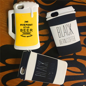 3D Beer or Coffee Silicone Phone Case For iphone X, 8, 7, 6, 6s plus