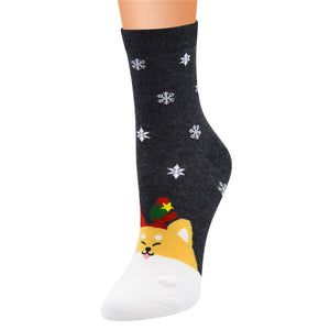 Funny Snow Flake Winter Design Socks for Women