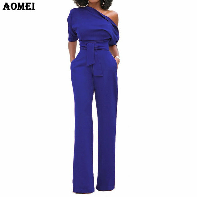 Elegant One Shoulder Sash Jumpsuit (S - 2XL)