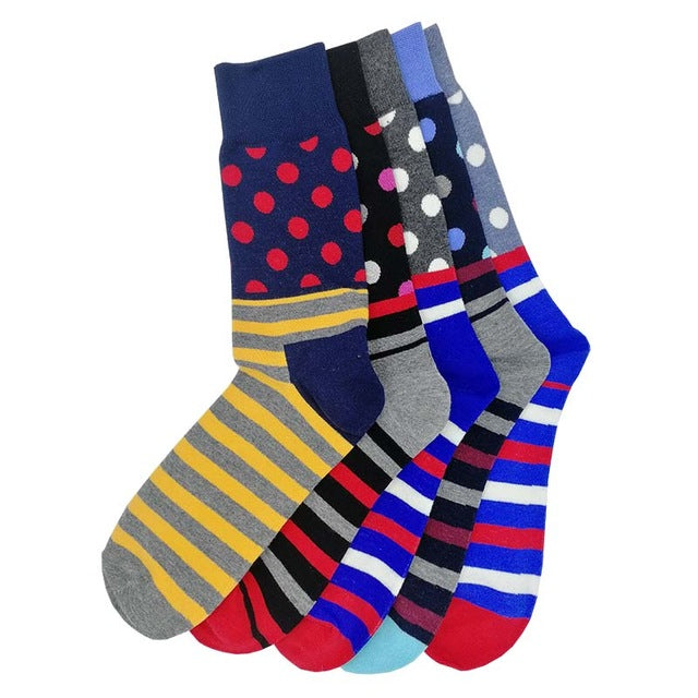 5 Pairs Crazy/ Fun/ Happy/Colorful Socks For Men - Polka & Stripes (Mixed)
