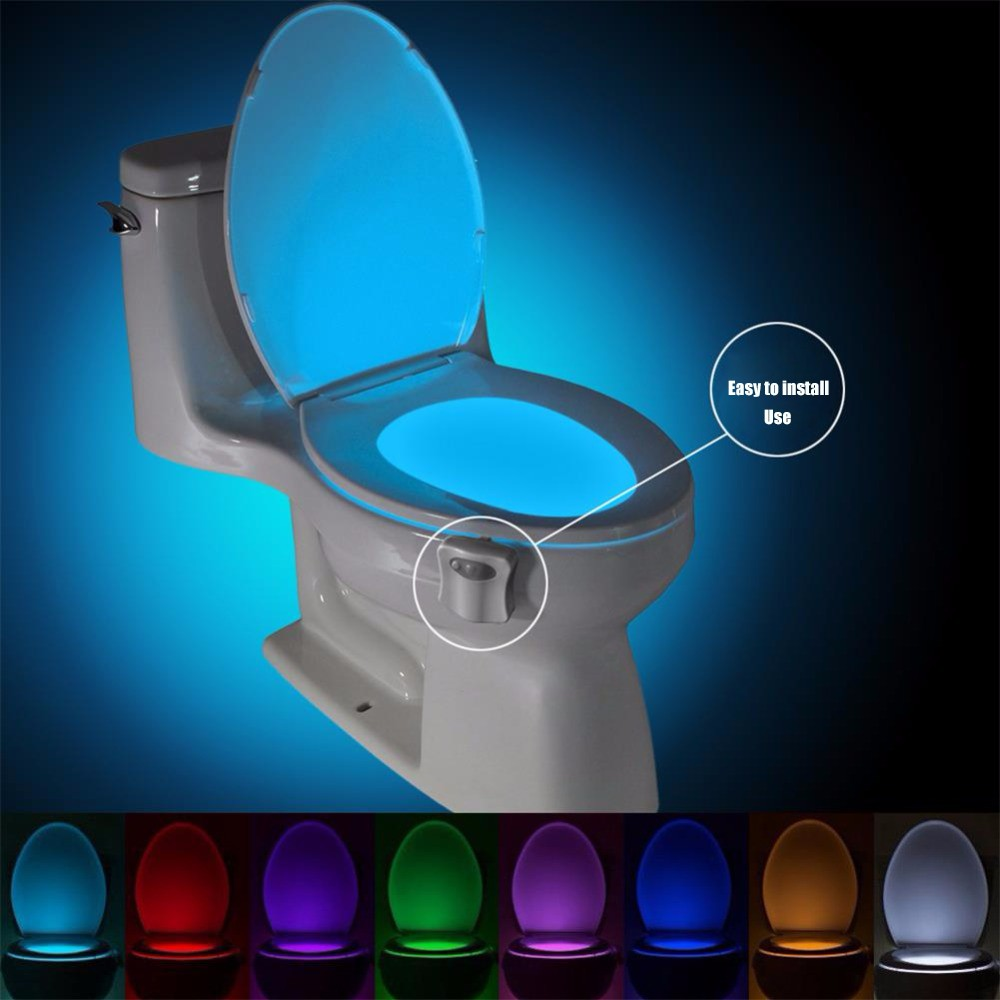 Motion Sensor Toilet Seat Lighting 8 Colors Automatic Night Lamp 3*AAA