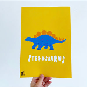 Stegosaurus print and colour me poster