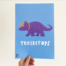 Load image into Gallery viewer, Triceratops print and colour me poster