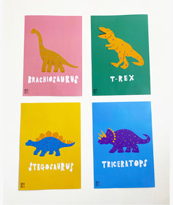 Triceratops print and colour me poster