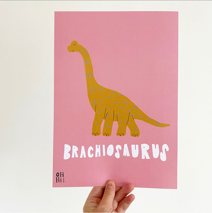 Brachiosaurus print and colour me poster