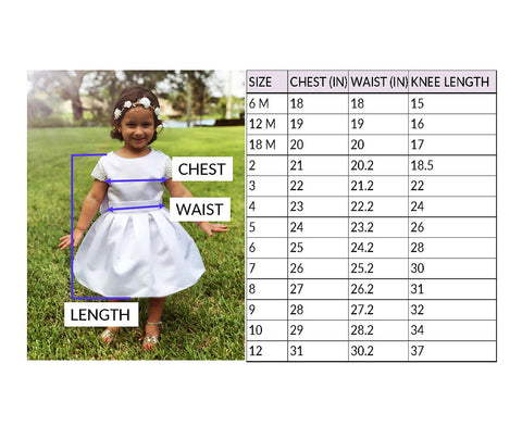 Flower girl dresses sizing guide