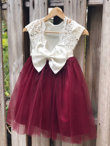Image of Flower girl dress, flower girl dresses, burgundy flower girl dress, lace and tulle flower girl dresses