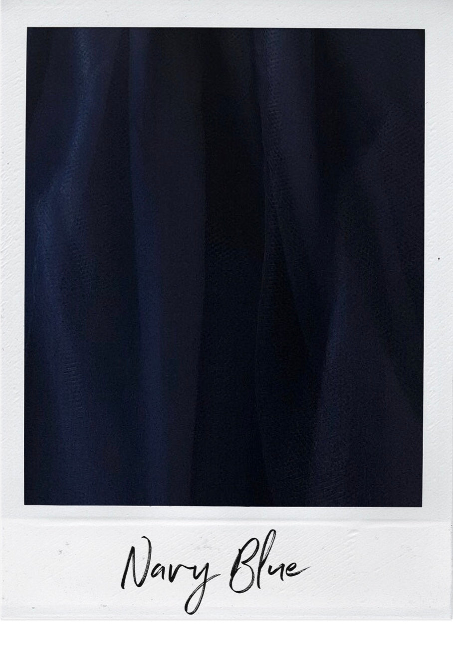 Navy Blue Satin and Tulle Swatch