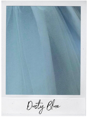 Dusty Blue Satin and Tulle Swatch