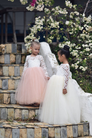 Image of Flower Girl Dress, Flower girl dresses, Lace Flower Girl Dress, Lace and tulle flower girl dress