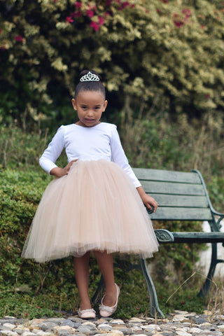 Image of Flower girl dress, Tulle flower girl dress, long sleeve flower girl dress
