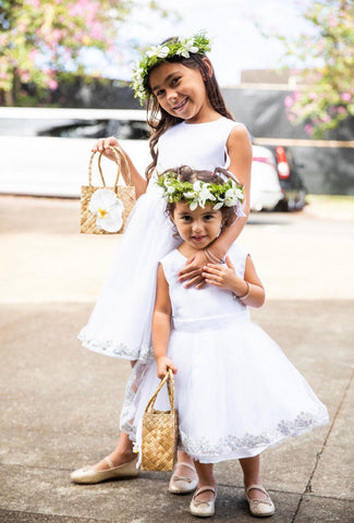 Image of White Flower Girl Dress, Flower Girl Dresses in white, White Girl Dress