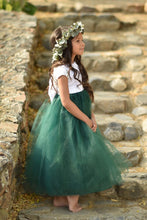 Load image into Gallery viewer, Flower girl dress, flower girl dresses, hunter green flower girl dress, tulle flower girl dress