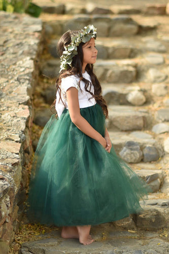 Flower girl dress, flower girl dresses, hunter green flower girl dress, tulle flower girl dress
