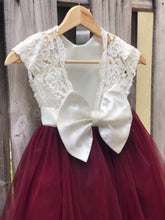 Load image into Gallery viewer, Flower girl dress, flower girl dresses, burgundy flower girl dress, lace and tulle flower girl dresses