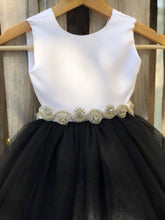 Load image into Gallery viewer, Black Flower Girl Dress, Black and white flower girl dress with rhinestones