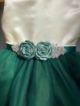 Load image into Gallery viewer, Hunter Green Flower Girl Dress with Rhinestone Flower Sash 1