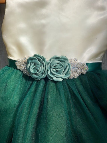 Hunter Green Flower Girl Dress with Rhinestone Flower Sash 1