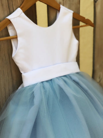 Image of Dusty Blue Flower Girl Dress, Elegant Satin Tulle Flower Girl Dresses, Party Dress, White and Blue, Dusty Blue Wedding 3